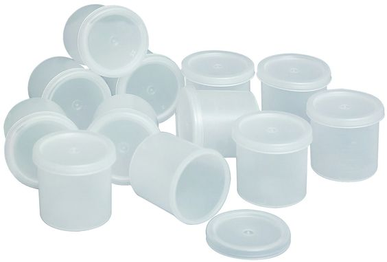 School Specialty Cubby Ware Plastic Paint Storage Container with Lid, 1 oz, Clear, Pack of 100