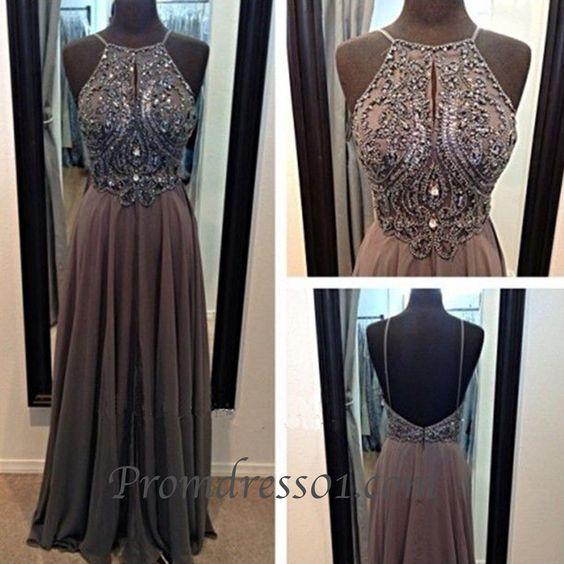 Vintage halter prom dress, backless junior prom dress #coniefox #2016prom