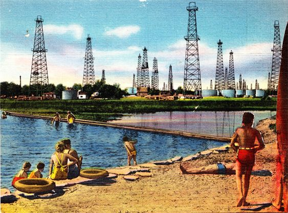 New England Beach Oil Fields - Mary Lydecker (Dystopian/Unpleasant Postcards)