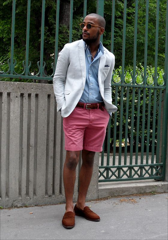 Pink shorts with blazer, not easy to pull off | Mens fashion I ...