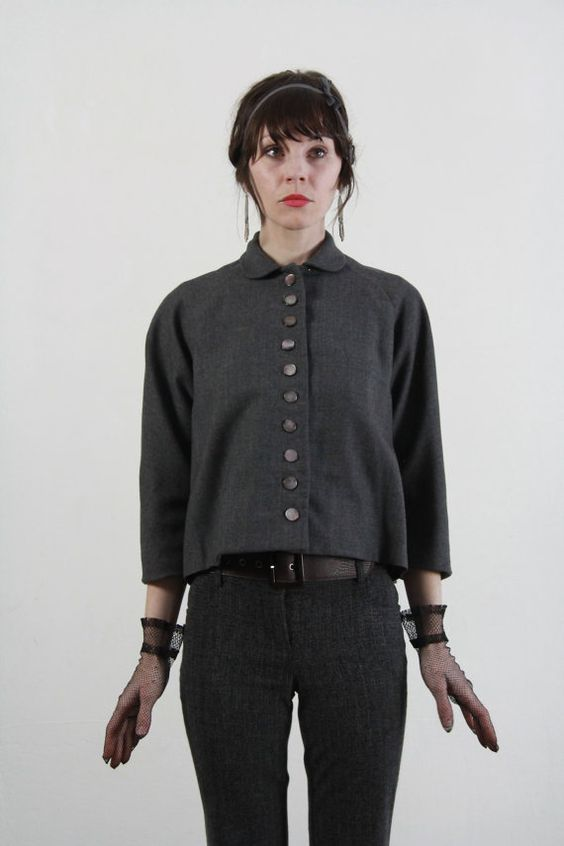 Vintage Top  Grey Shirt  Shell Buttons  Flair Waist by VeraVague, $80.00