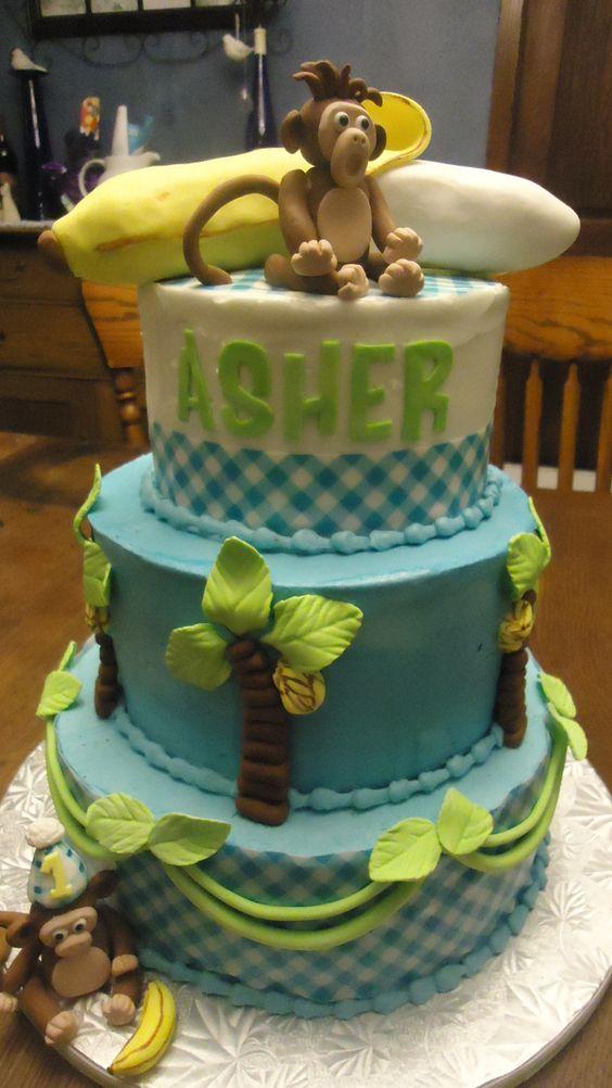 1st birthday monkey cake