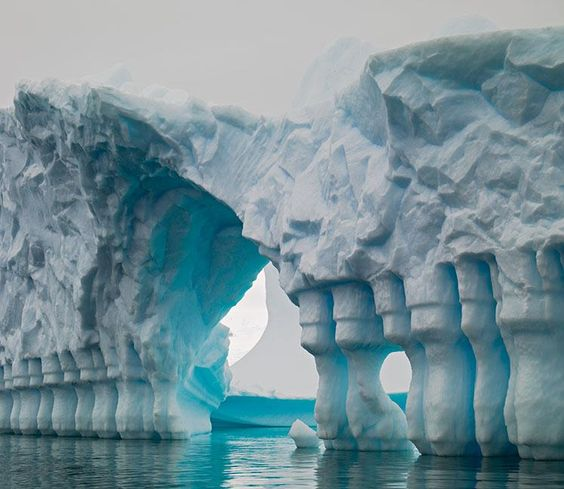 Curious Iceberg columns of natural formation, Lemaire channel,a strait off the Kiev Peninsula,Antartica.