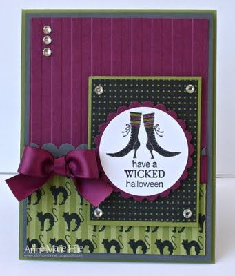 This Rich Razzleberry paper looks like plush velvet on this handmade Halloween card.  I love the matching ribbon and wicked sentiment.