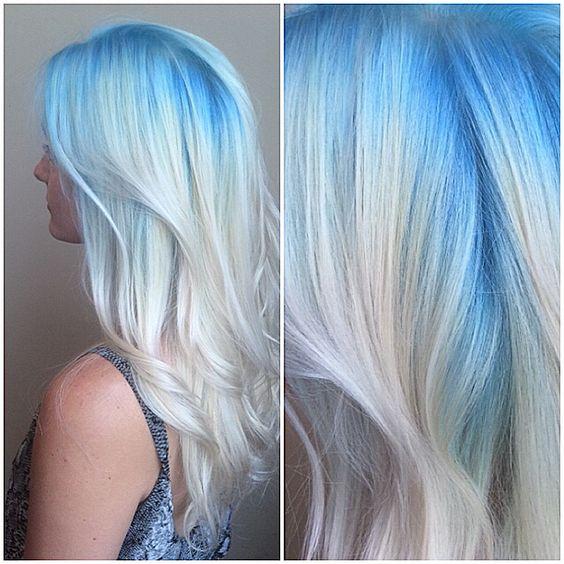 Blue hair pastel blue blonde melt waves hairstyle light blue platinum ice white hair long