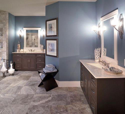 Gray Blue Bathroom Darkbluebathroom Blue Bathroom Decor Blue Bathroom Paint Bathroom Paint Colors Blue