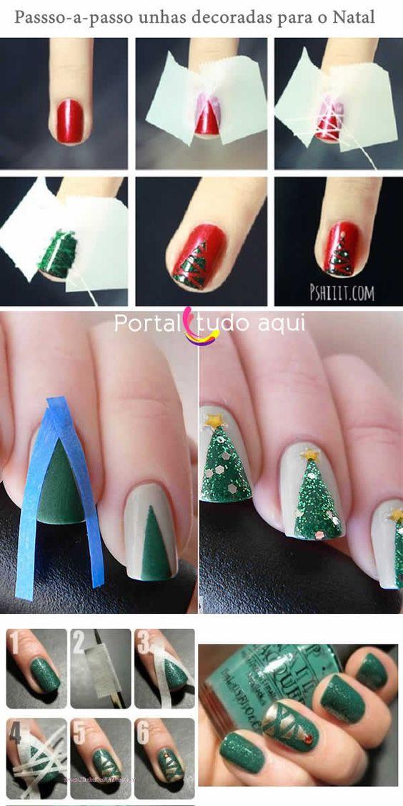 Unhas decoradas para o Natal - Top 3 tutorias simples de fazer -Portal Tudo Aqui Mais