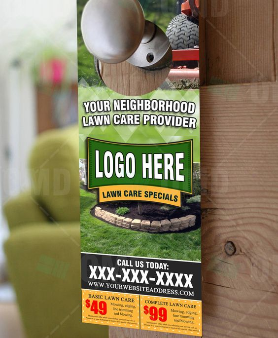 Hios Landscaping Collateral - Graphic design and print production - restaurant door hanger template