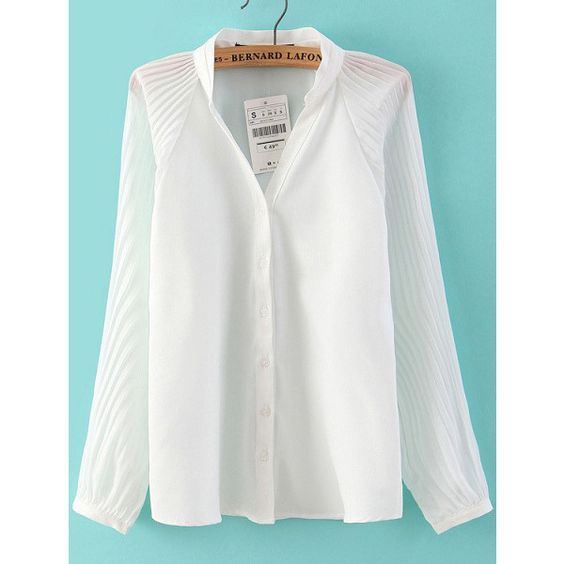 SheIn(sheinside) White Stand Collar Pleated Loose Blouse (29 BAM) via Polyvore featuring tops, blouses, white, loose tops, long sleeve tops, embellished tops, high neck white blouse and white long sleeve top