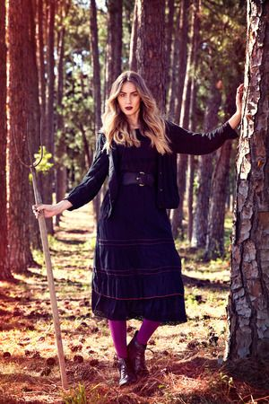 Luxor Jacket Cable Knit Block Black and Pippa Maxi Skirt from Naudic's Autumn/Winter 2015 collection.
