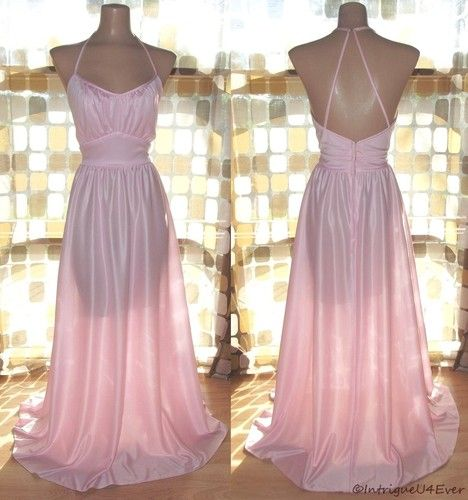 $59.99- Vintage 70s SEXY PINK Maxi Hostess Dress Strappy Open Back Full Sweep GOWN 10 | eBay