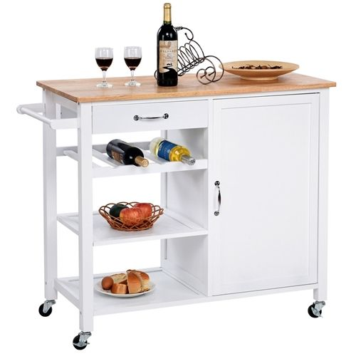 Mobile Kitchen Island Cart Cabinet With Wine Rack In White Wood Storage Cabinets Storage Cabinet Shelves Modern White Kitchen Island