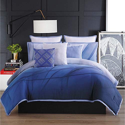 3 Piece Modern Style Blue Navy Duvet Cover Elegant Contemporary Abstract Design Peaceful Looking King Bedding Beautifu Soft Bedding King Beds Navy Duvet Covers