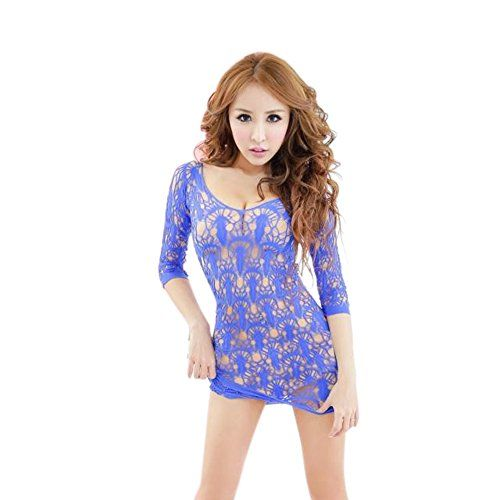 "FUNOC Women Lace Babydoll Lingerie Fishnet Mesh Nightwear Sleepwear Teddy Mini Dress (Blue). 100% Brand New And High quality. Materia: Nylon. Color: Blue, Hotpink, Black. Size: One size fit S to M. Chest: App 86 cm/ 33.86""; Waist: App 69 cm/ 27.17""; Hipline: App 89cm/ 35.04""."