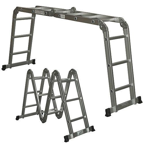 Aluminum Extension Step Ladder Multi Position Folding 12 Steps A Frame Ladder Smartdealsmarket Step Ladders Aluminium Ladder Best Ladder