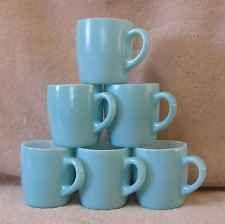 Set 6 Vtg Hazel Atlas Sky Powder Light Blue Turquoise Milk Glass Coffee Cup Mugs