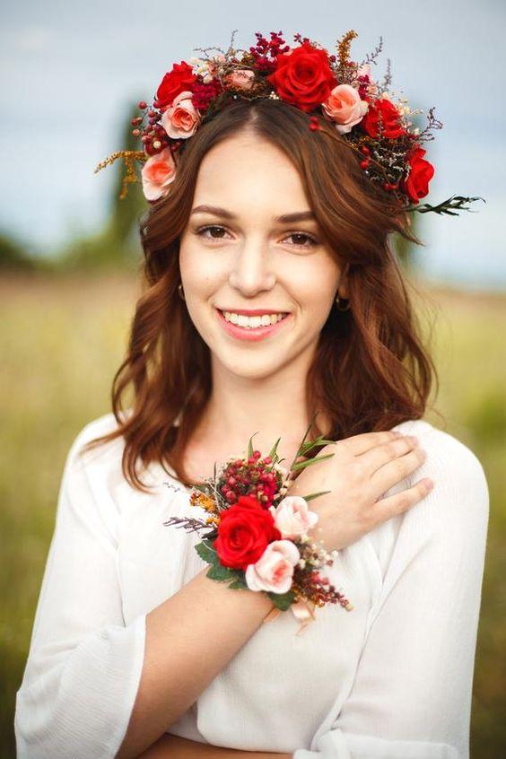 Bracelet with roses Boho style Red bracelet Romantic wrist corsage Wedding accessories Wedding bracelet Bridal corsage Magaela jewelry