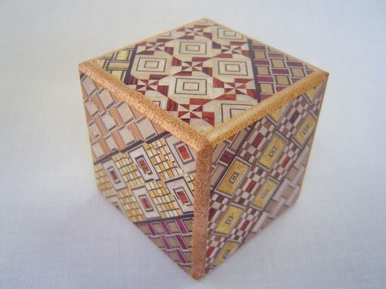 Japanese Puzzle box Himitsu bako 2.2inch Cube Open by by tomomaru
