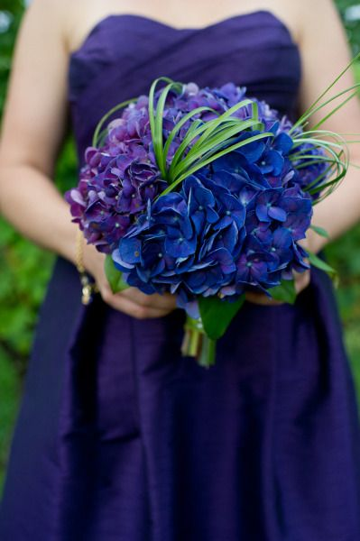 blue + purple hydrangeas - Connecticut Vineyard Wedding from Hales Studio