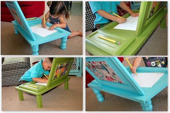 Turn a cabinet door into a mobile desk or art center by adding furniture legs, sturdy candlesticks, staircase posts or anything else around the house that you could use.