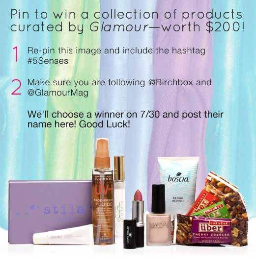 Re-pin this image and tag with #5Senses to enter to win! Must be following @Birchbox and @GlamourMag. http://birch.ly/OPj1zG