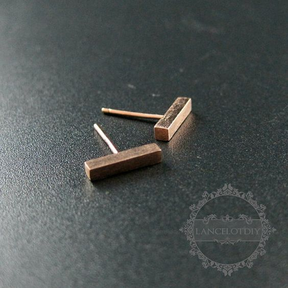 1pair 2x10mm rose gold plated bar solid 925 by LancelotDIY on Etsy