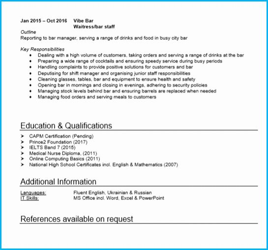 Waiter Job Description Resume New Waitress Or Waiter Cv Example With Writing Guide And Cv