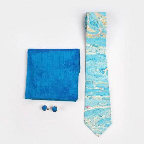 Surf & Sky Marble Print Silk Tie Set - Buy for Tie Online at tadpolestore.com