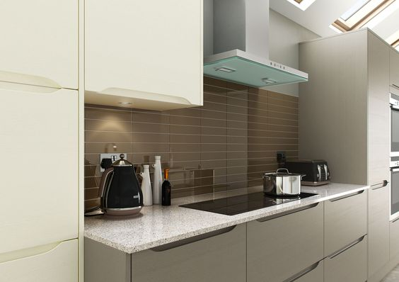 Modern Semi-Handleless Kitchen Luna Ivory Mixed With Basalt