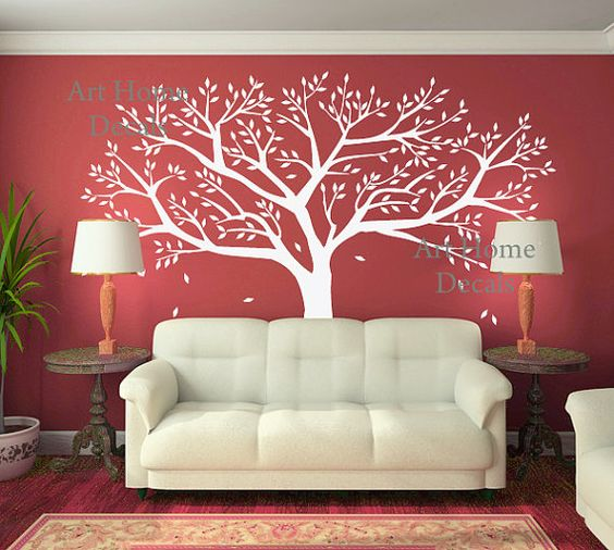 Tree Wall Decor  Family  Tree Wall Decal  Home by ArtHomeDecals, $85.00 - love this coral wall with white tree