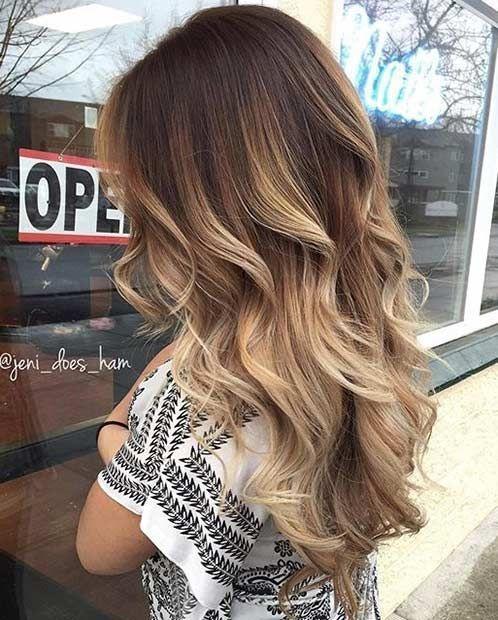 Beige Blonde Balayage on Brunette Hair