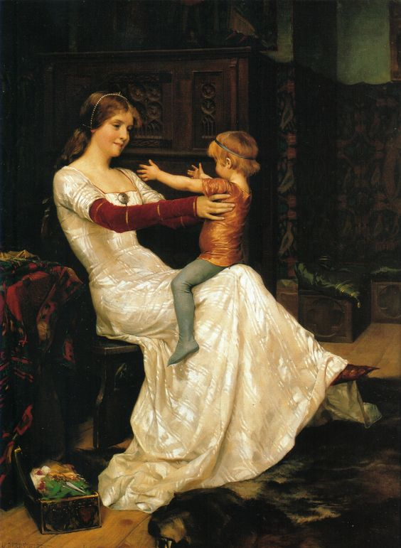 Painting of Blanche of Namur, Queen of Sweden and Norway, done by  Albert Edelfelt. She's shown bouncing her young son, the future King Haakon VI, on her lap.: