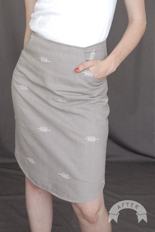 Great skirt refashion (made from a men's button up shirt)