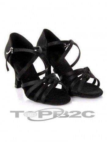 Superbe noir satiné 3'' haut talon Womens latine Shoes      Groupe: Femme     Occasion: Danse latine     Hauteur de Talon: 7.5cm     Type de Talon: Bobine     Bout de Chaussures: Ouvert     Couleur affichée: Noir     Poids: 1kg