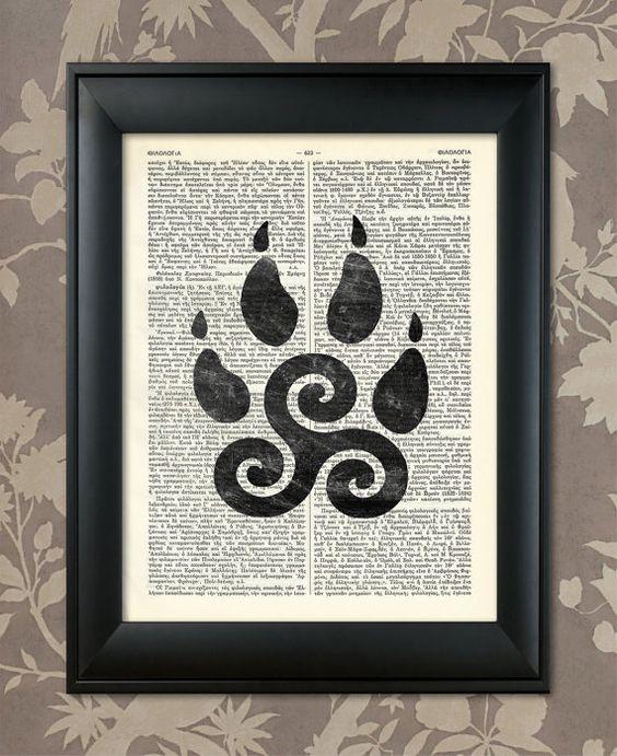 Teen Wolf, Teen Wolf Triskelion, Teen Wolf Poster, Teen Wolf art / Upcycled Dictionary, Art Print, Poster / Vintage Greek Encyclopedia
