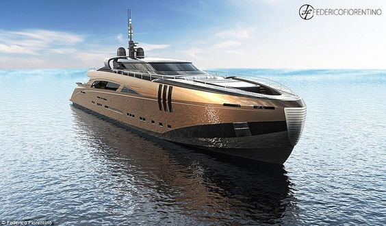 A pool on the middle deck, a VIP suite and a sky lounge: Italian designer unveils plans for stunning 164ft superyacht made out of BRONZE