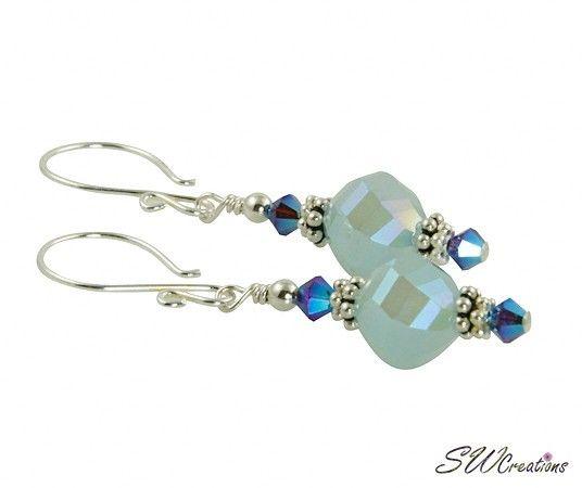 Iridescent Mystic Blue Beaded Crystal Earrings