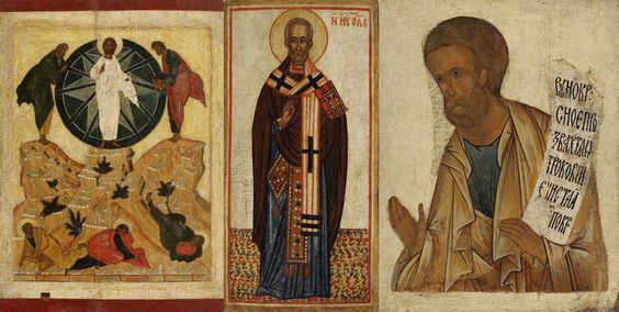 Antique Russian icons of the Transfiguration, St. Nicholas of Myra, and Prophet Gideon from the collection of the Moscow Museum of Russian Icon