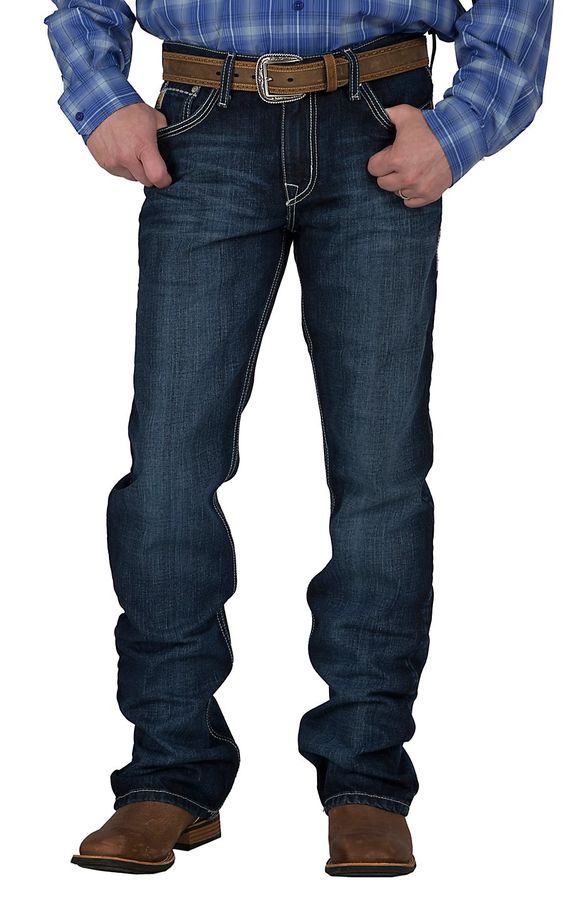 Cinch Men's Medium Wash Ian Mid Rise Slim Fit Boot Cut Jean ...