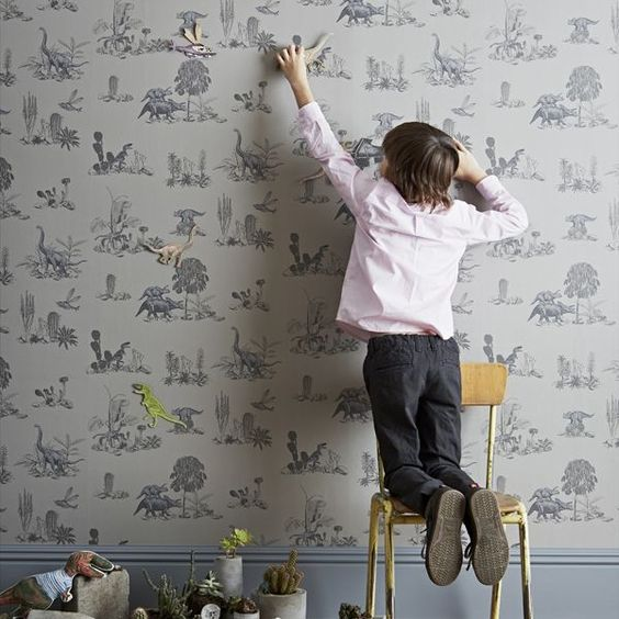 Magnetic Dino Wallpaper Grey