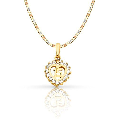14K Yellow Gold 15 Years Birthday Quinceanera Charm Pendant For Necklace Chain