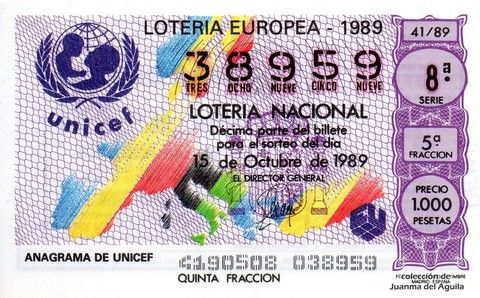 Décimo Del Sorteo Extraordinario De Lotería Europeo Celebrado El 15 De Octubre De 1989 Coleccionismo Loteria Coleccion Lotería Nacional Lotería Sorteo