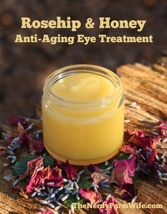 6 tablespoons sweet almond oil (or avocado or another rich, nourishing oil) 2 tablespoons beeswax 1/2 tablespoon raw honey 2 tablespoons rosehip seed oil optional: about 3 drops of lavender essential oil