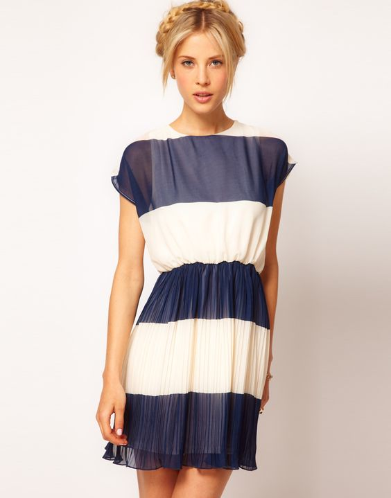 ASOS Stripe Skater Dress With Pleated Skirt