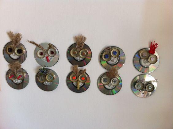 Owl.... Gufi fai da te, fatti con le mie bambine con materiali di recupero.: