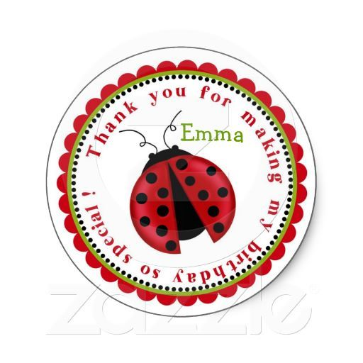 Lady Bug Birthday Stickers