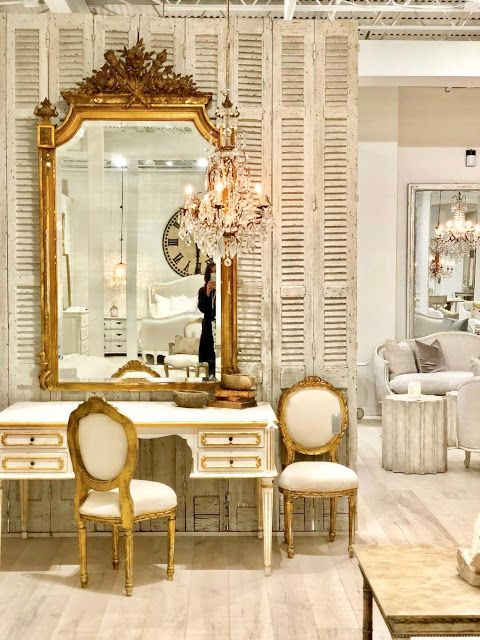 Swedish desk and French gilded mirror. Swedish decor inspiration, French and Gustavian Design Style from Eloquence. #swedish #interiordesign #frenchcountry #gustavian #nordic #decoratingideas #whitedecor #eloquence #furniture