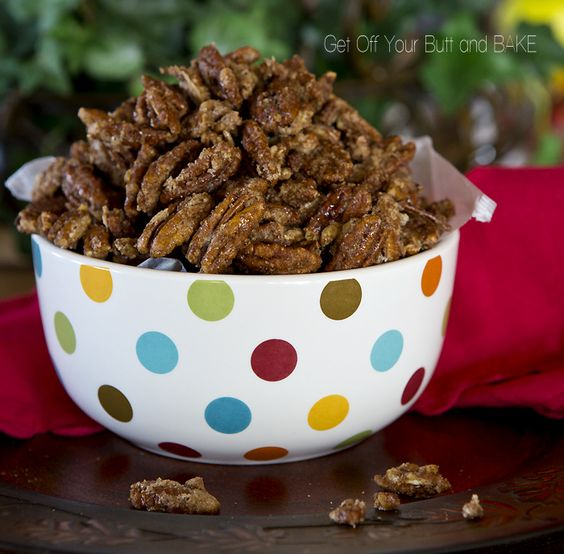 """Cinnamon Sugar Nuts – Pecan, Almonds, Walnuts! Get the recipe here. Candies nuts would look amazing in a vintage jar or could be part of a """"saturday night in"""" hamper with some beers, savouries and a dvd"""