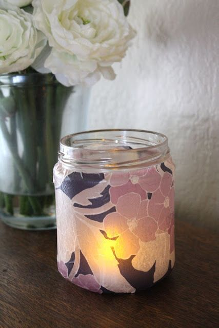 paper tissue candle holder gift tea glass jars mother votive heart light tutorial mommy decoupage easy craftiness moms handmade mothers