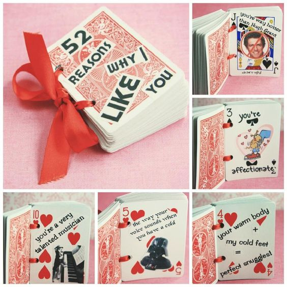 This unique book made up of cards to tell him 52 reasons why you love him....17 Last Minute Handmade Valentine Gifts for Him. Surprise!! #diyHandmadeValentineGiftsforHim: